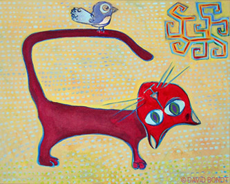 Red Cat With Bird On Tail - Artwork by David Bondt