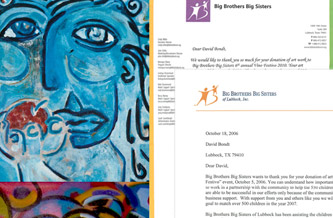 Special Art Donations to Big Brothers & Big Sisters Programs